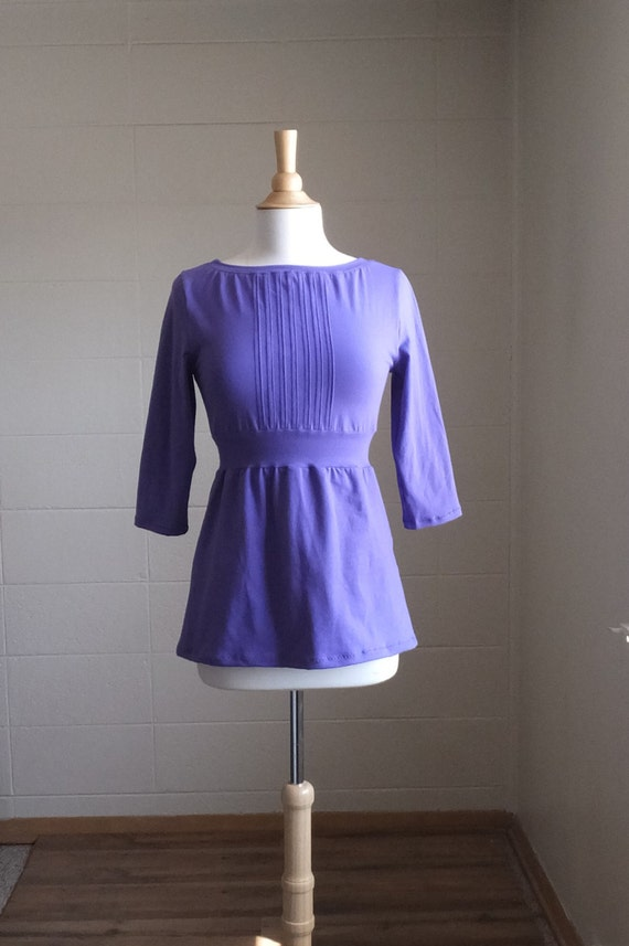 Womens Shirt Pleated Front Empire Waist Blouse 3/4 Sleeve boat Neck Cotton Jersey long sleeve holiday peplum Made to Order