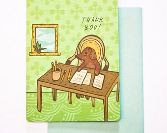 dog THANK YOU CARD for coworker, office thank you coworker thank you cards for a coworker, office friend card, thank you office, cute card