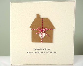 Personalized New Home Card - rustic housewarming cards - personalised happy new home - cream brown - house moving card - house warming - uk