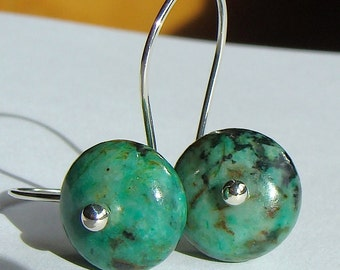 Turquoise Earrings Drop Earrings African Turquoise Jasper Dangle Earrings in Sterling Silver Earrings