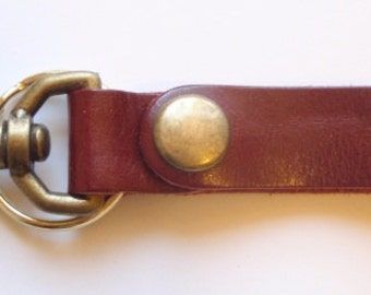 Darkwear Clothing Red Leather Key Fob Snap Hook w Antique Brass Snap & Key Ring