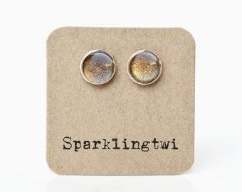 Gold Stud Earrings. Gold Post Earrings. Sparkling Stud Earrings. Gold Glitter Stud Earrings. Post Silver Earrings. Pop of Color - JESSA