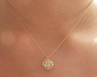 Antique Square Moissanite and Diamond Necklace