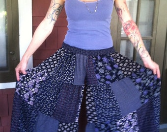 Up-Cycled Flow Pants,Skirted Pants,Pixie Clothing,Festival Clothing,Gypsy Clothing,Flared Pants, Hoop pants,Eco Clothes