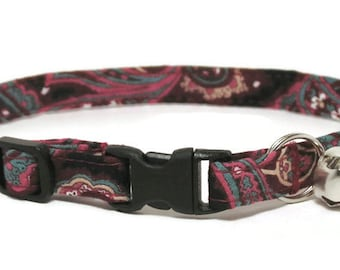 Fancy Cat Collar - Vintage Wine Paisley - Breakaway Safety Cute Fancy Cat Kitten Collar