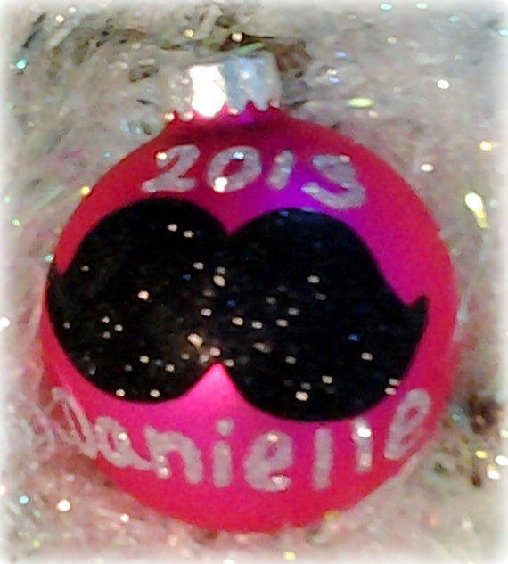 Personalized Hand Painted Glittered Mustache Christmas Ornament, Tree Decor, Boho Chic, Holiday Gift For Girls