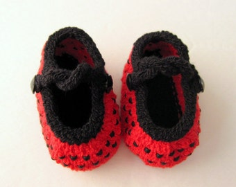 Hand Knit Baby Booties / Infant Girl Shoes - Beaded Lady Bug Mary Jane - Made to Order