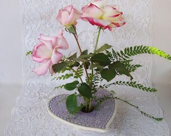 Happy Valentine's Day Vase . Doily Lace Ceramic Pottery Vase.