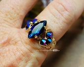 Bermuda Blue Vintage Swarovski Navette-Marquise Hand Crafted Ring Wire Wrapped Original Signature Design Fine Jewelry