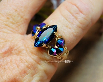 Bermuda Blue Vintage Swarovski Navette Marquise Peacock Blue Hand Crafted Ring Wire Wrapped Original Signature Design Fine Jewelry