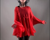 Red Chiffon Shadowen Blouse with Dramatic Flared Sleeves and Full Lower Flounce - Brand New by Kambriel