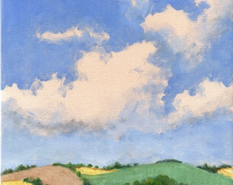 Summer - Landscape Painting Original Painting on Canvas Green and Yellow Fields Clouds and Blue Sky Hills 8x8