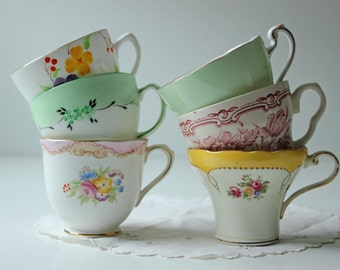 Collection of 6 dainty floral patterned tea cups for girls tea party or candle making