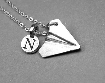 Paper plane Necklace, Paper airplane Necklace, personalized jewelry, paper plane jewelry, initial necklace, monogram letter, initial charm