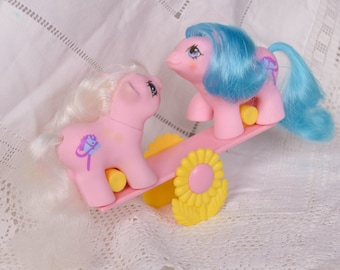 Vintage My Little Pony 'Sticky & Sniffles' 'Tuggles and Toddles' NewBorn Baby Twins Pink Hobby Horse with See-Saw - G1 - 1987 - Rare - MLP