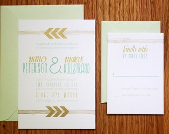 Gold Chevron Arrow Invitations, Gold and Mint Wedding Invitations, Geometric Invitations, Gold Arrow Invite, Weddings, Invitations and Paper