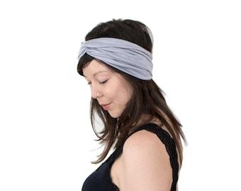 Turban Headband // Turband // Hair Wrap // Twist Headband // Fabric Hairband // Fashion Turban //  Silver Heather