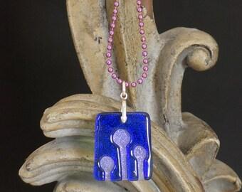 Enoki Indigo Carved Dichroic Glass Pendant - FREE SHIPPING!