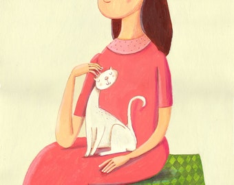me and my cat Original painting