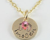 14K Gold Filled Baby Footprint Personalized Any Name Pendant with Birthstone Crystal