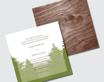 Rustic Wedding Invitations with Evergreen Trees Mountains and Woodgrain for Fall Winter Wedding - DESIGN FEE