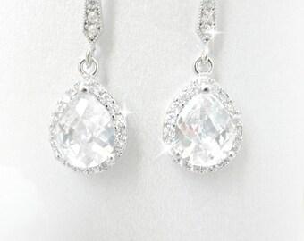 Pear Shaped Wedding Earrings, Cubic Zirconia Earrings, Teardrop Earrings, Wedding Jewelry, Rhinestone Earrings, Bridesmaid Earrings drop
