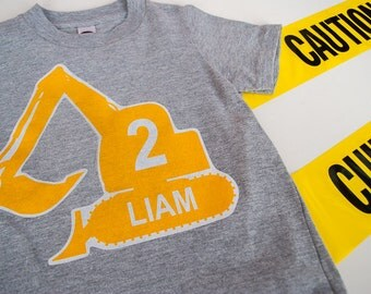 Personalized Construction T-Shirt Iron On Printable PDF: Make your own t-shirt for a construction birthday party - INSTANT DOWNLOAD
