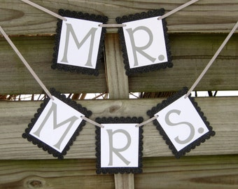 Mr. and Mrs. Banners - Wedding Photo Prop or Chair Signs - Silver and Glittery Black