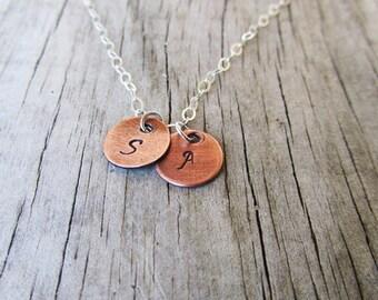 Petite Initial Necklace, Monogram Jewelry, Handstamped Keepsakes, Custom Jewelry, Mothers Necklace