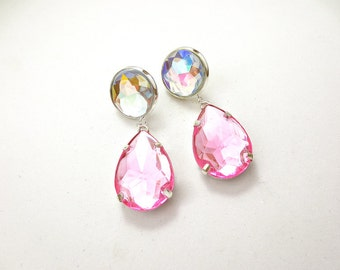 Light Pink and Crystal AB Acrylic Rhinestone Drop Earrings, Simple Pastel Pink and Clear AB Rhinestone Earrings, Rhinestone Dangle Earrings