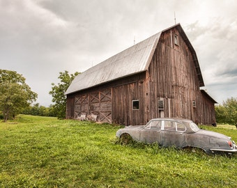Old Car and Barn Photograph, Vintage Jaguar, Brown Barn, Rustic Landscape, Beautiful and Nostalgic Country Scene, Signed photography print.