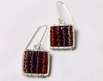 Dangle earrings made of sterling silver, wire wrapped purple color, square earrings , Tangle earrings Purple - Sterling silver and copper