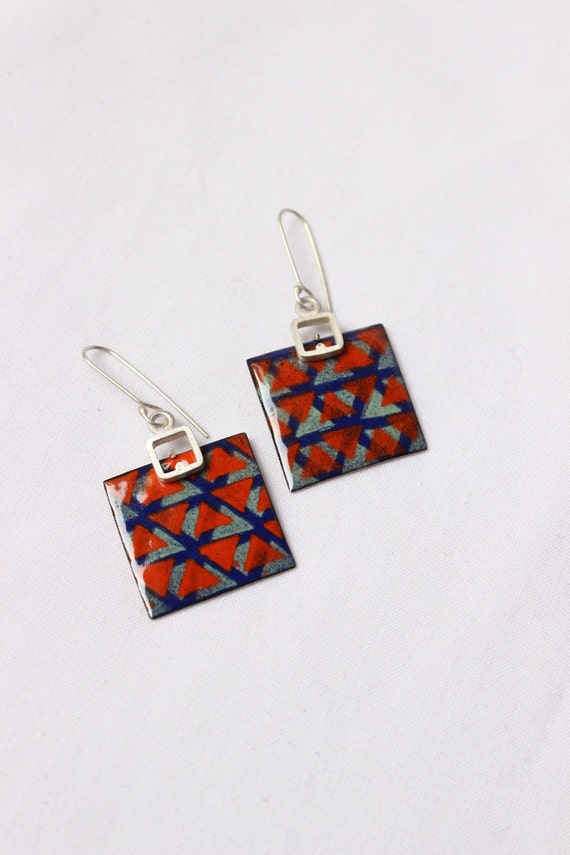 Blue Green Orange Enamel earrings - Triangles pattern earrings II -  -  Sterling silver and copper