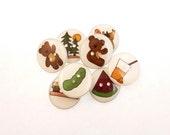 """8 Teddy Bear Picnic Buttons.  3/4"""" or 20 mm  Children's Handmade  buttons."""