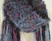 Knit scarf, soft wool women's hand knit long winter scarf, clearance sale silk fringe, mohair wool, crochet women's scarf, purple blue i320b