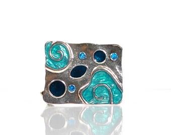 Blue Hair Clip Blue Hair Accessories Elegant Barrette Art Deco Barrette