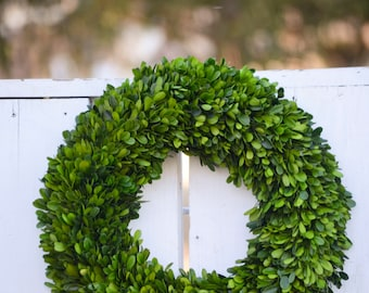 Large Preserved Boxwood Wreath, Spring wreath, winter wreath, boxwood wreath