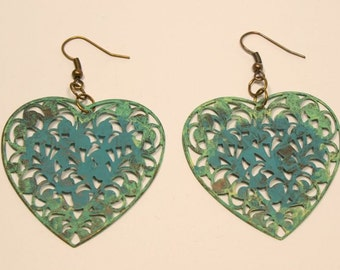 Filigree Heart Shaped Boho Style Earrings, Shabby Patina Turquoise/ Gold Mix, Hand Painted Patina Verdigris, Hand Painted Filigree