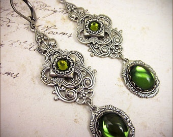Medieval Earrings, Olive Green, Victorian Earrings, Romantic Bride, Renaissance Earrings, Medieval Garb, Tudor, Renaissance Jewelry, Avalon
