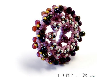 Infinity Donut Beaded Bead in Pink Purple Silver Gold
