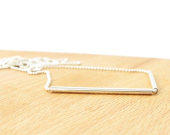 Minimalist Necklace. Unique Jewelry. Two Tubes Necklace. Silver Necklace. Long Layering Necklace. Minimalist Necklace. Original Jewelry.