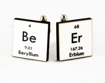 Beer Cufflinks Geek Chemistry Custom Accessories for Men - Periodic Table - Nerd Breaking Bad Gift for Him