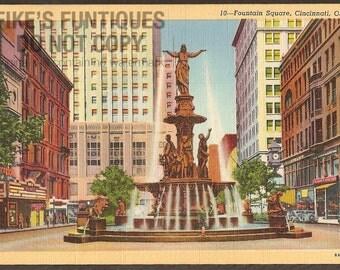 Cincinnati, Ohio Vintage Linen Postcard - Fountain Square (Unused)