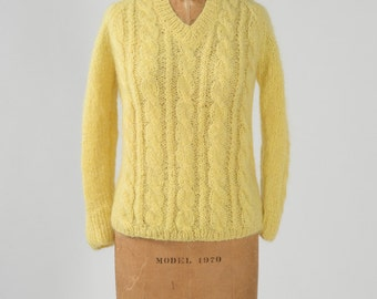 1960s Yellow Mohair Sweater, Vintage Wool Pullover Cable Knit Fuzzy V Neck Sweater, Made in Italy and Deadstock