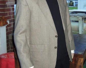 Mens Wool & Silk Coat Sport Coat Jacket 38R 40 Size Medium Vintage Tweed Blazer