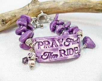 Chunky Bracelet, Purple Jewelry, Cuff Bracelet, Cowgirl Girl Bracelet, Ceramic Cuff, Purple Bracelet, Double Strand Bracelet