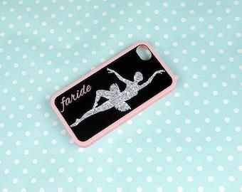 Glitter Ballerina + Monogrammed Insert + Pink Bumper for iPhone 4, 4s, 5, 5s, 5c, 6, 6s, 6 Plus, 6s Plus Case, Galaxy S3, S4, S5, S6 Case