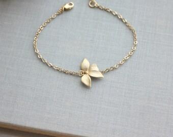 Gold Orchid Flower Swarovski Ivory Pearl Bracelet. Flower Bracelets. Bridesmaids Gifts, For Sister. Flower Girl. Maid Of Honor. Best Friends