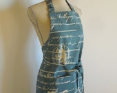 Apron French Script Print  Blue and White Cotton Fabric NEW LOWER PRICE