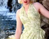 50's Style Hawaiian Halter Sarong Dress in Green Bamboo Print